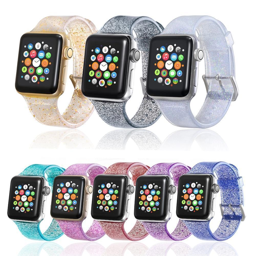 Apple Sport Soft glitter Silicone Strap For Apple Watch Series 4 3 2 1 44mm 40mm 42mm 38mm Band Replacement Strap Wristband For iWatch Band - US Fast shipping
