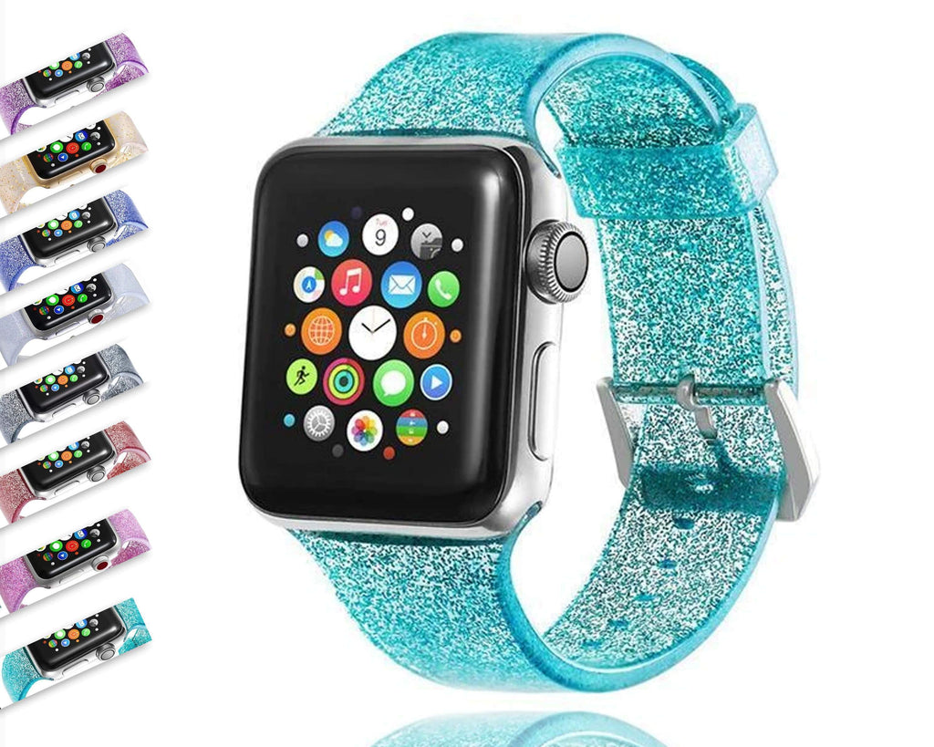 Apple Sport Soft glitter Silicone Strap For Apple Watch Series 5 4 3 2 1 44mm 40mm 42mm 38mm Band Replacement Strap Wristband For iWatch Band - US Fast shipping