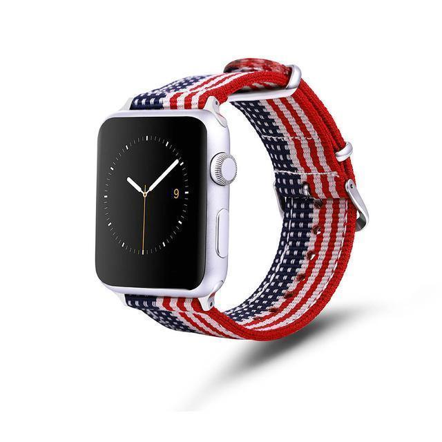 Apple Striped flag / 42mm / 44mm Apple Watch Series 5 4 3 2 Band, Nylon Rainbow Sport Smart Watch Strap 38mm, 40mm, 42mm, 44mm