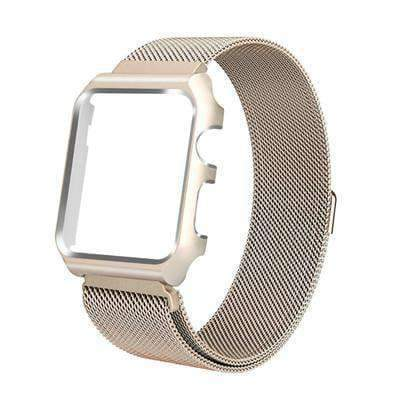 Apple vintage gold / 38mm band case Apple Watch band Milanese mesh magnetic Loop stainless steel metal Strap & Watch Case bundle  42mm 44mm iwatch 4/3/2/1 38mm 40 mm Bracelet Watchband - USA Fast Shipping