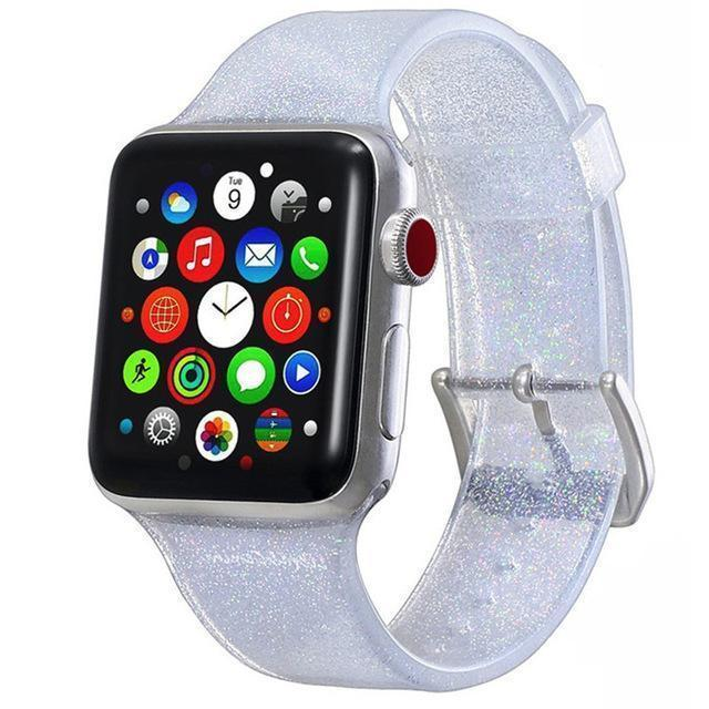 Apple white / 38mm/40mm Sport Soft glitter Silicone Strap For Apple Watch Series 4 3 2 1 44mm 40mm 42mm 38mm Band Replacement Strap Wristband For iWatch Band - US Fast shipping
