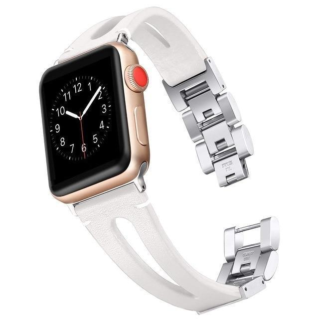 Apple white / 38mm and 40mm Faux Leather watch band for Apple Watch Bands 38mm 42mm 40mm 44mm Bracelet for iWatch Series 4 3 2 1 women/Men