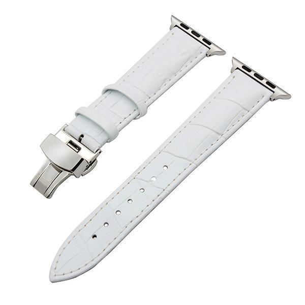 Apple White / 38mm Faux Leather Watchband for 38mm 40mm 42mm 44mm iWatch Apple Watch Series 4 3 2 1 Band Butterfly Buckle Strap Bracelet