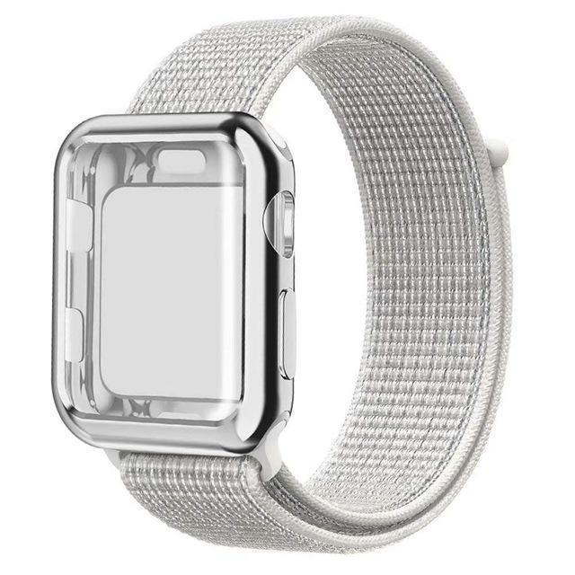 Apple white / 38mm Nylon Sport Loop band with case For Apple Watch 38mm 42mm 40mm 44mm screen protector iWatch series 4 3 2 1 sport bracelet strap