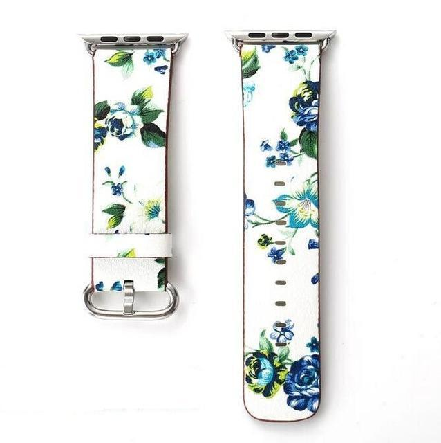 Apple white blue / for 38mm and 40mm manufacturer Leather Loop for iwatch 4 3 2 1 Strap for Apple Watch Band 38mm 42mm 40mm 44mm Flower Design