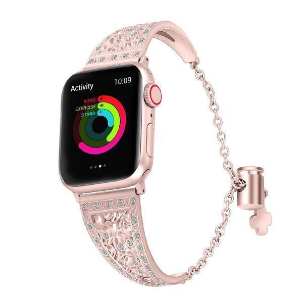 Apple Women Diamond Band For Apple Watch Series 4 3 2 1 stainless steel strap for iWatch 38mm 42mm 40mm 44mm Bracelet Wristband