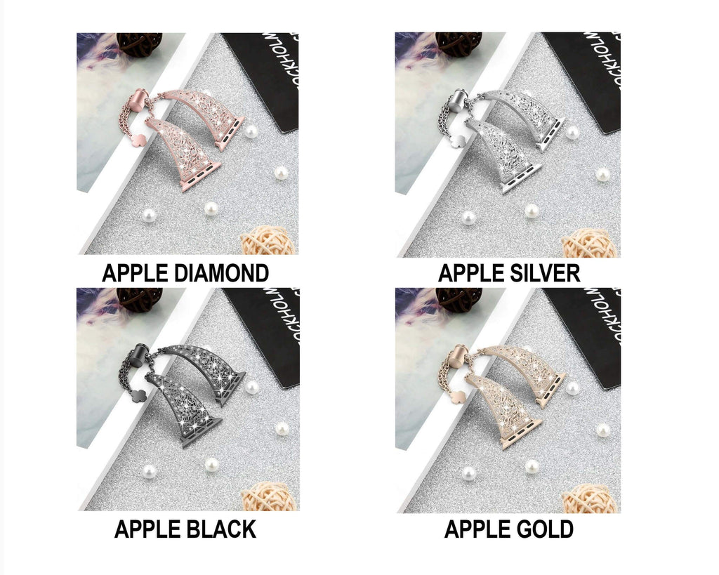 Apple Women Diamond Band For Apple Watch Series 5 4 3 2 1 stainless steel strap for iWatch 38mm 42mm 40mm 44mm Bracelet Wristband