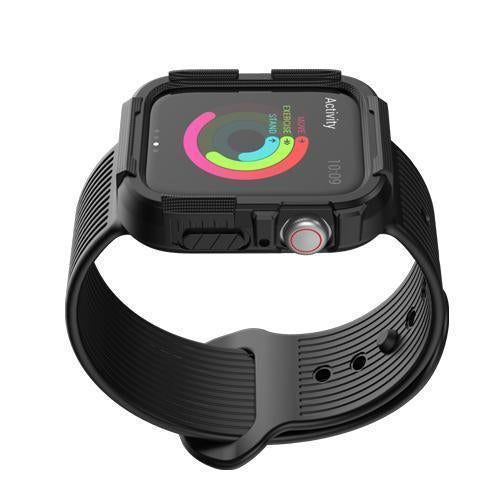 Home black / 38mm/40mm series 4 Anti fall case+strap for apple watch band 44mm 40mm Silicone Protector cover+bracelet for iwatch Apple watch 4 5 Accessories