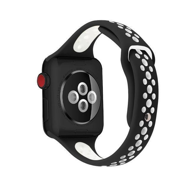 Home Black white / 38mm / 40mm Slim strap For Apple Watch 5 band 40mm 44mm iWatch Band 38mm 42mm Breathable sport silicone bracelet Apple watch 5 4 3 2 1 38 40 44