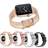 Home Bling Bling Shiny PU Leather Watch Band for Apple Watch 5 band 44mm 40mm 42mm 38mm strap for iWatch 4 3 2 1 Replacement bracelet