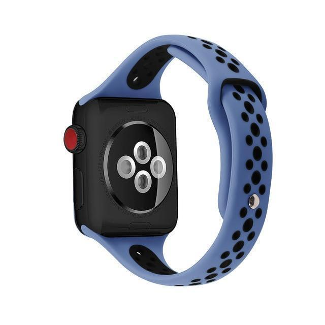 Home blue black / 38mm / 40mm Slim strap For Apple Watch 5 band 40mm 44mm iWatch Band 38mm 42mm Breathable sport silicone bracelet Apple watch 5 4 3 2 1 38 40 44
