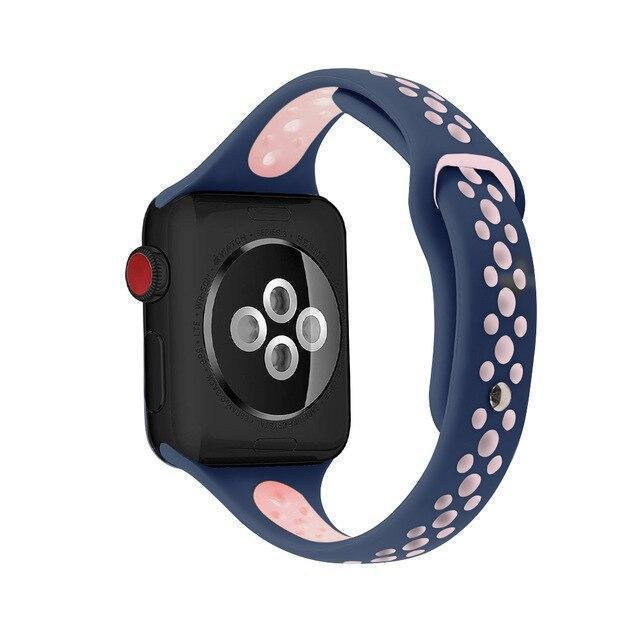 Home blue pink / 38mm / 40mm Slim strap For Apple Watch 5 band 40mm 44mm iWatch Band 38mm 42mm Breathable sport silicone bracelet Apple watch 5 4 3 2 1 38 40 44