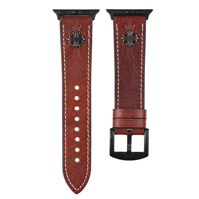 Home Brown A / 44mm Size Leather strap for Apple watch band 5 4 3 2 1 44mm 40mm iwatch correa 42mm 38mm 3 2 high quality Bracelet for Apple watch Accessories
