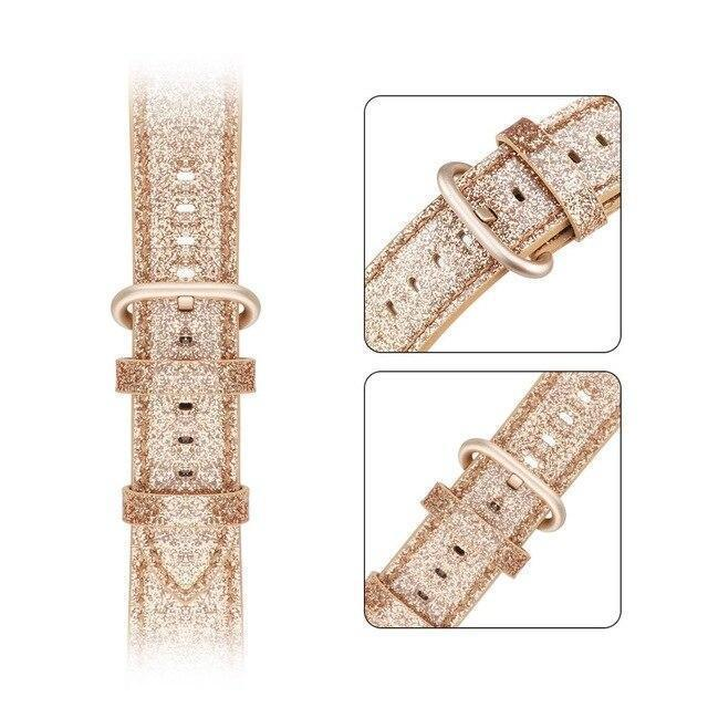 Home gold / 38mm 40mm Bling Bling Shiny PU Leather Watch Band for Apple Watch 5 band 44mm 40mm 42mm 38mm strap for iWatch 4 3 2 1 Replacement bracelet