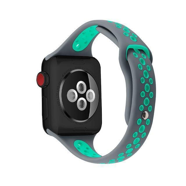 Home Gray greem / 38mm / 40mm Slim strap For Apple Watch 5 band 40mm 44mm iWatch Band 38mm 42mm Breathable sport silicone bracelet Apple watch 5 4 3 2 1 38 40 44