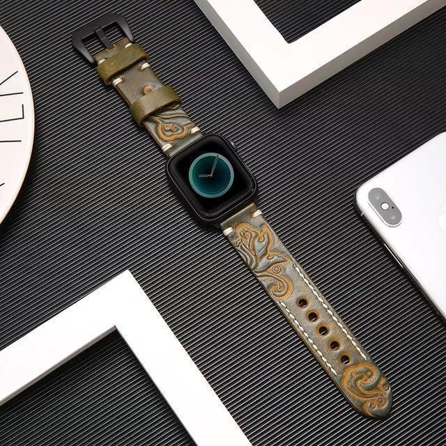 Home Green / 38mm/40mm Handmade Luxury Embossing Genuine Leather Bracelet Apple Watch Band ,  iwatch 38mm 40mm 42mm 44mm Series 5 4 3