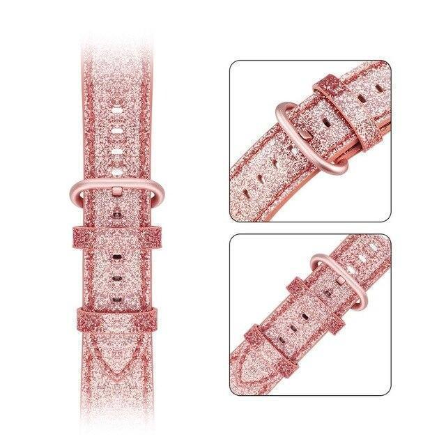Home pink / 38mm 40mm Bling Bling Shiny PU Leather Watch Band for Apple Watch 5 band 44mm 40mm 42mm 38mm strap for iWatch 4 3 2 1 Replacement bracelet