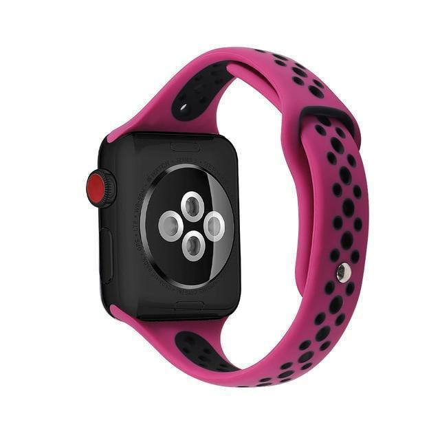 Home purple black / 38mm / 40mm Slim strap For Apple Watch 5 band 40mm 44mm iWatch Band 38mm 42mm Breathable sport silicone bracelet Apple watch 5 4 3 2 1 38 40 44