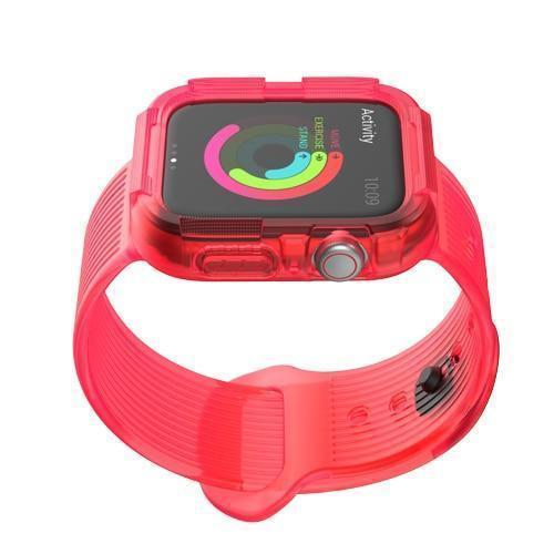 Home red / 38mm/40mm series 4 Anti fall case+strap for apple watch band 44mm 40mm Silicone Protector cover+bracelet for iwatch Apple watch 4 5 Accessories