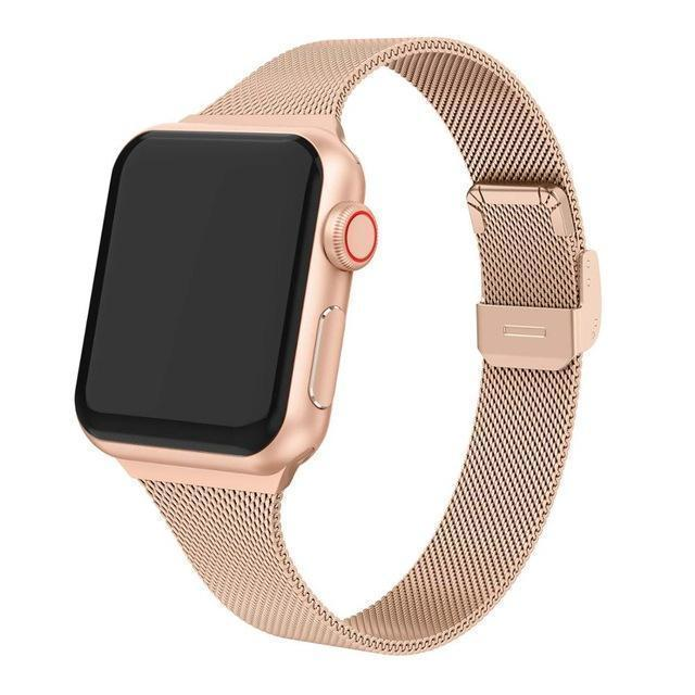 Home Rose Gold / 38mm Milanese strap For Apple Watch 5 band 40mm iWatch band 38mm Silm Stainless steel metal bracelet Apple watch 4 3 2 1 40 38 mm