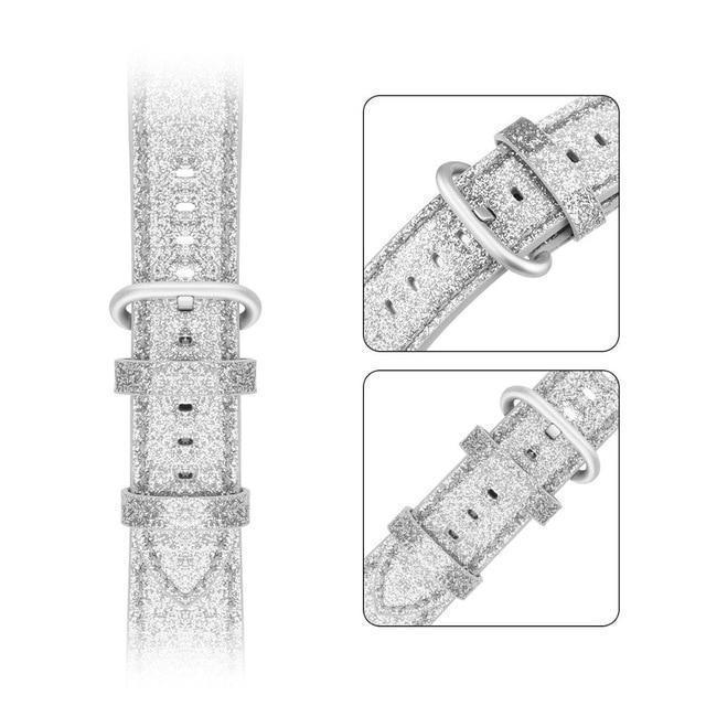 Home silver / 38mm 40mm Bling Bling Shiny PU Leather Watch Band for Apple Watch 5 band 44mm 40mm 42mm 38mm strap for iWatch 4 3 2 1 Replacement bracelet