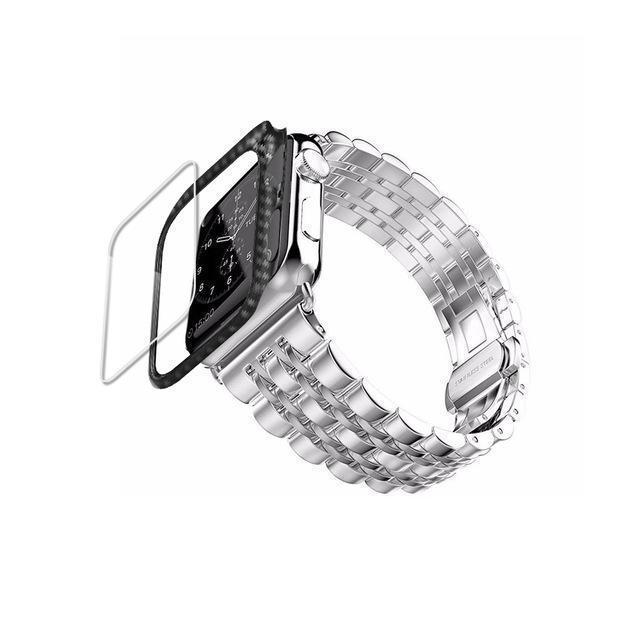 Home Silver band case / 38mm/40mm Carbon fiber Case+Strap For Apple Watch band 44mm 40mm apple watch 5 4 3 2 1 42mm/38mm iwatch band correa Stainless Steel watchband