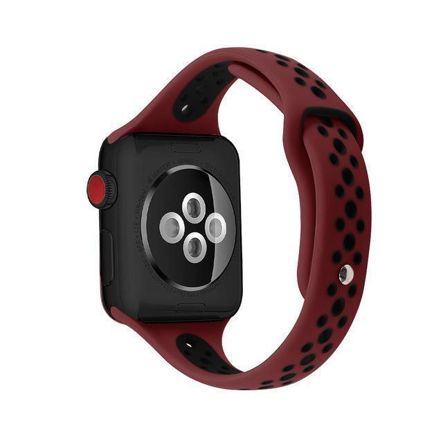 Home Win red black / 38mm / 40mm Slim strap For Apple Watch 5 band 40mm 44mm iWatch Band 38mm 42mm Breathable sport silicone bracelet Apple watch 5 4 3 2 1 38 40 44