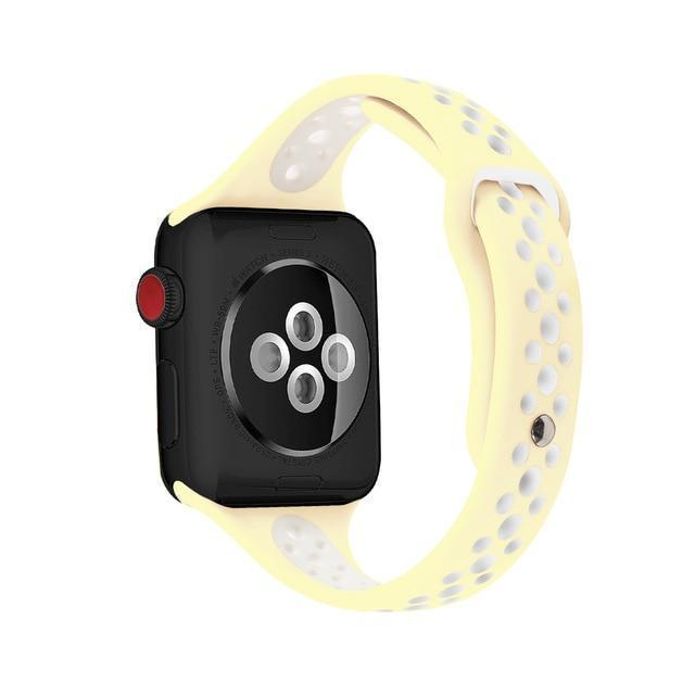 Home yellow white / 38mm / 40mm Slim strap For Apple Watch 5 band 40mm 44mm iWatch Band 38mm 42mm Breathable sport silicone bracelet Apple watch 5 4 3 2 1 38 40 44