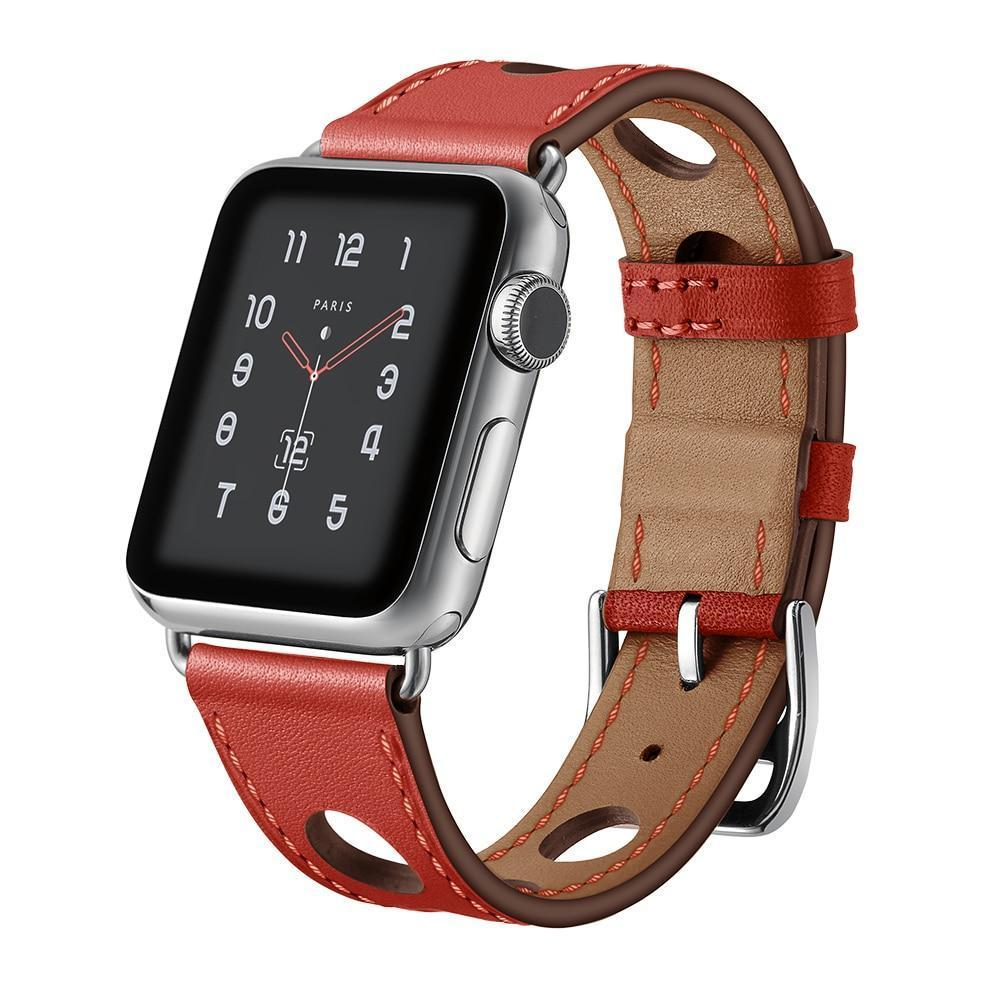 Red Genuine Leather Hollow Style Band