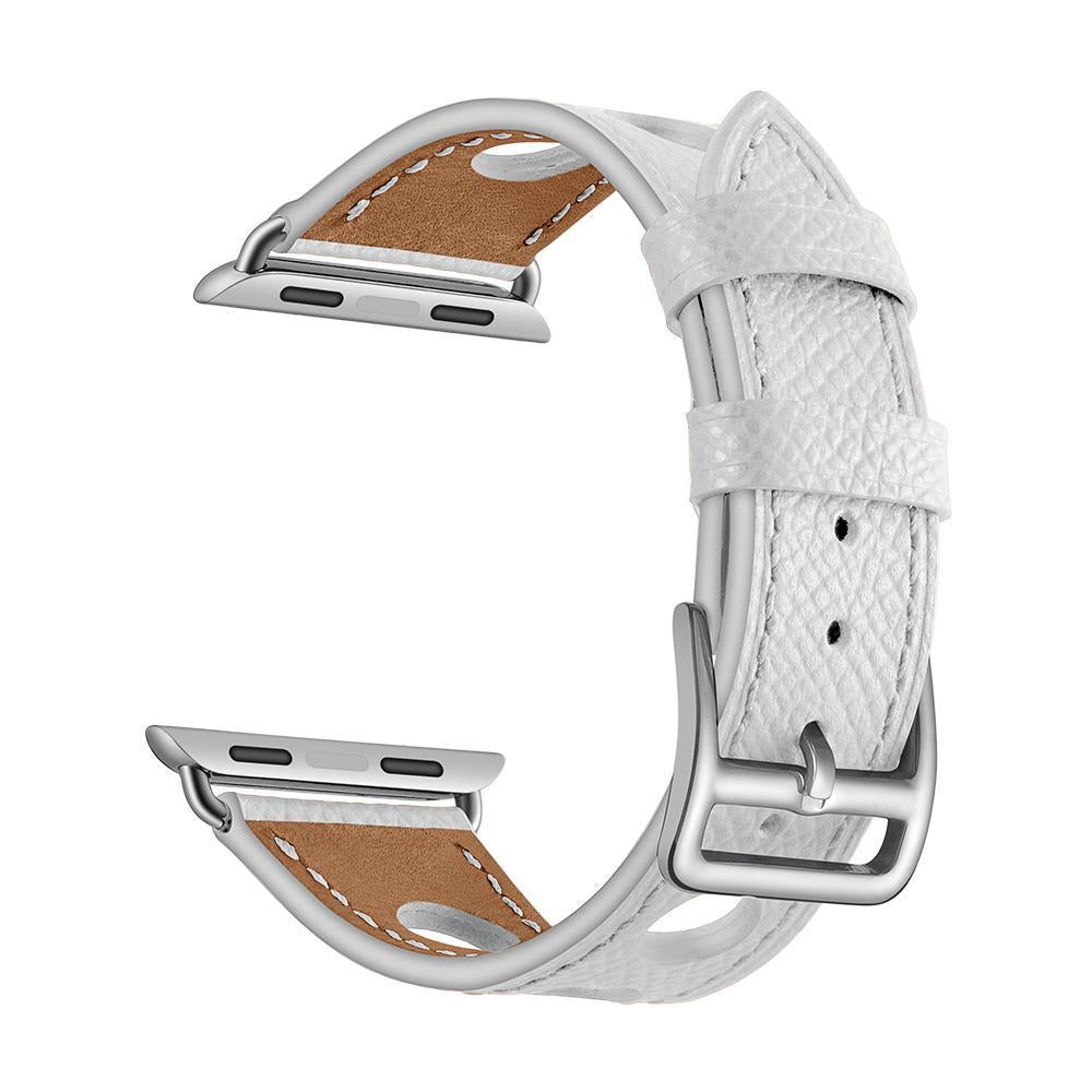 White Genuine Leather Hollow Style Band