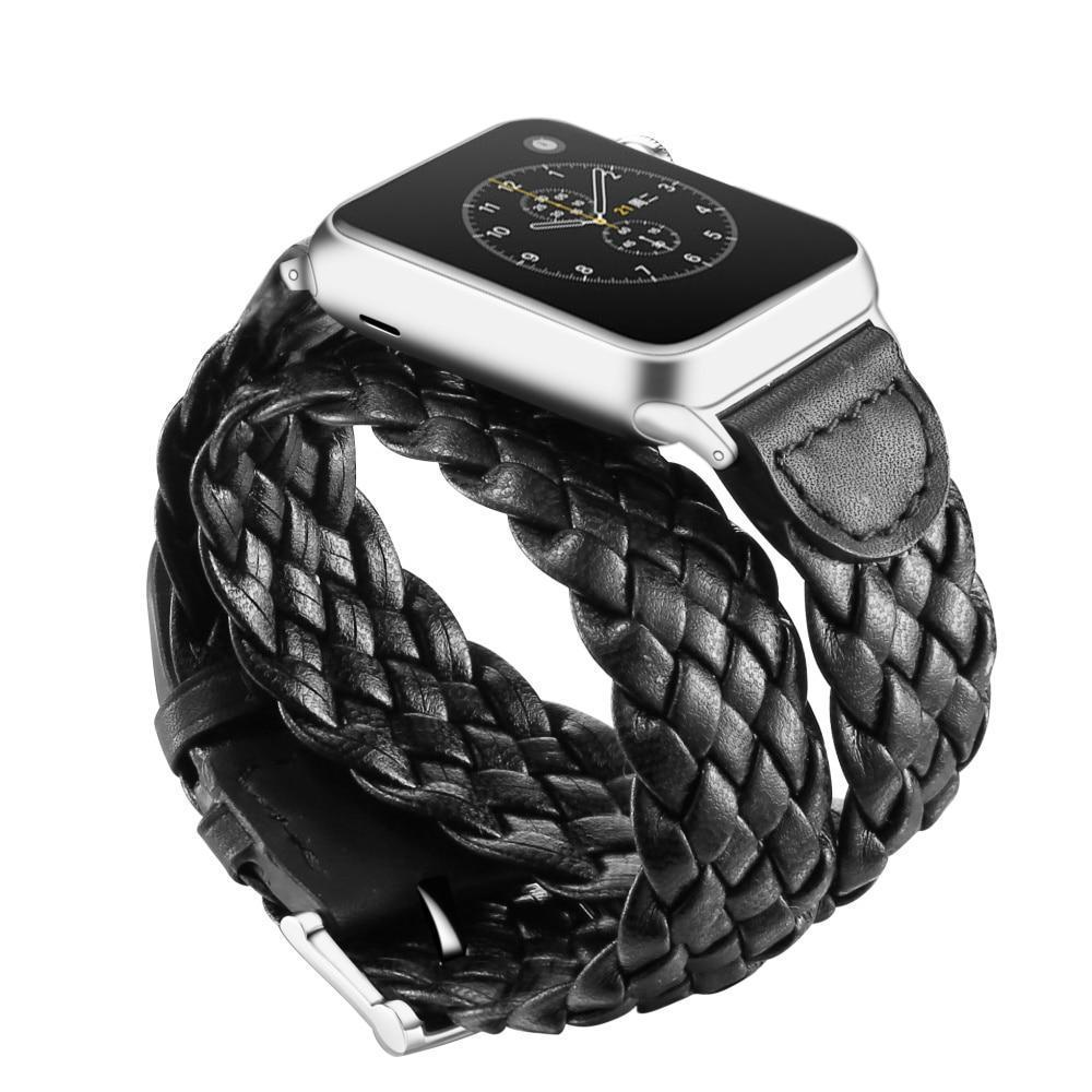 Weave Genuine Leather Belt Band Double  for Apple Watch