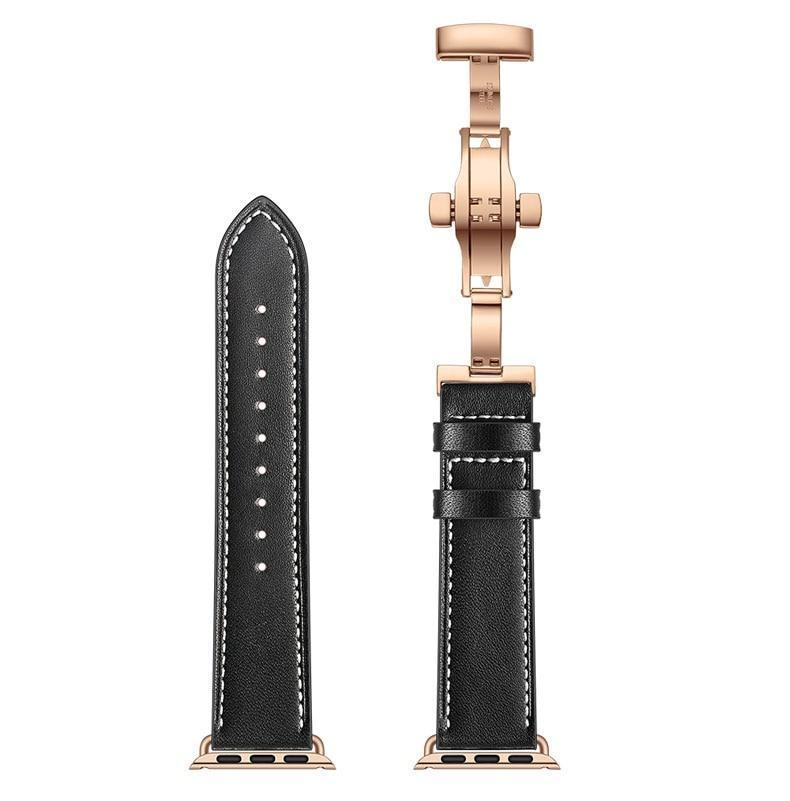 Black Premium Leather Apple Watch Band