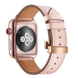 Pink Premium Leather Apple Watch Band