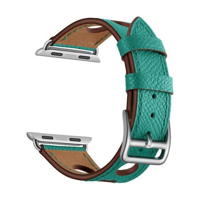 Malachite Green Genuine Leather Hollow Style Band