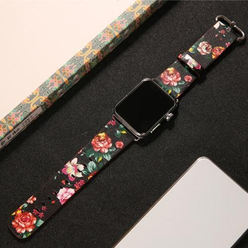 Watchbands 1 / 38mm/40mm leather strap for apple watch band 42mm 38mm 44mm 40mm correa Printing flower bracelet watchband for iwatch pulseira 5/4/3/2/1