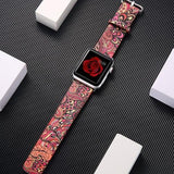 Watchbands 10 / 38mm/40mm leather strap for apple watch band 42mm 38mm 44mm 40mm correa Printing flower bracelet watchband for iwatch pulseira 5/4/3/2/1