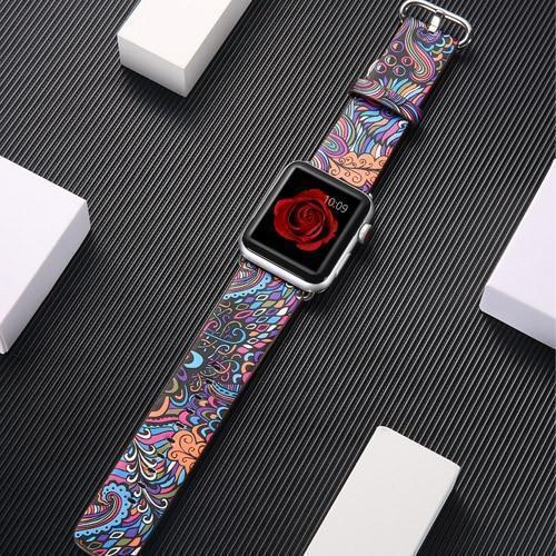 Watchbands 11 / 38mm/40mm leather strap for apple watch band 42mm 38mm 44mm 40mm correa Printing flower bracelet watchband for iwatch pulseira 5/4/3/2/1
