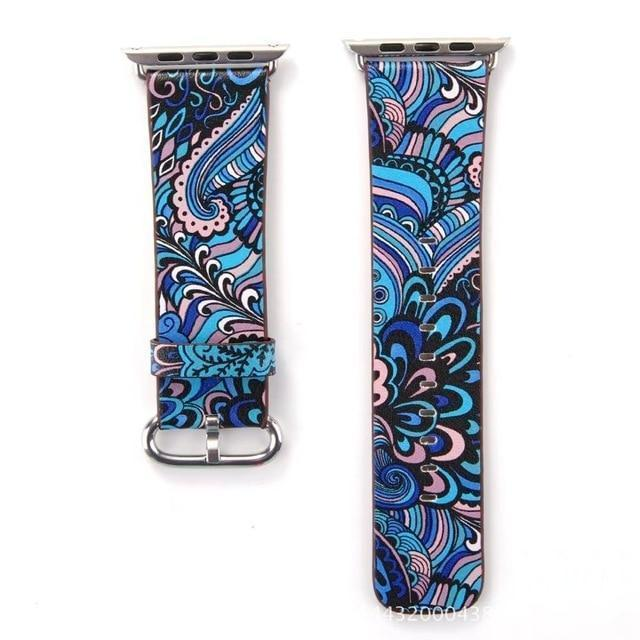 Watchbands 11 / 38mm/40mm Leather strap For Apple Watch  band apple watch 5 4 3 band 44mm/40mm correa iwatch band 42mm/38mm Floral Printed  Bracelet belt