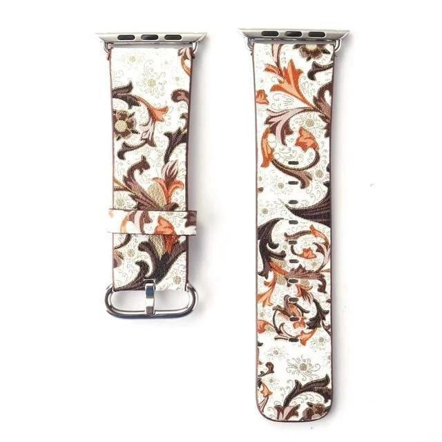Watchbands 14 / 38mm/40mm Leather strap For Apple Watch  band apple watch 5 4 3 band 44mm/40mm correa iwatch band 42mm/38mm Floral Printed  Bracelet belt