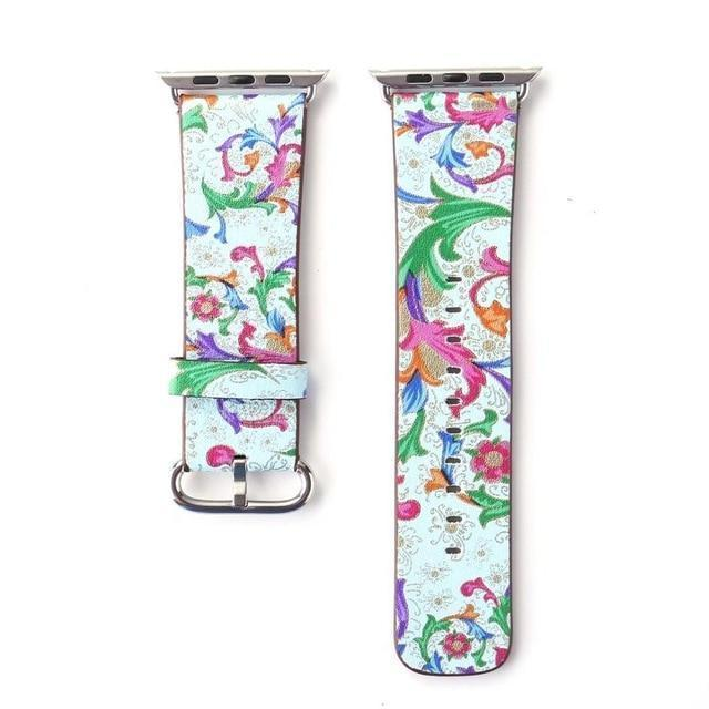 Watchbands 18 / 38mm/40mm Leather strap For Apple Watch  band apple watch 5 4 3 band 44mm/40mm correa iwatch band 42mm/38mm Floral Printed  Bracelet belt