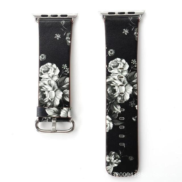 Watchbands 2 / 38mm/40mm Leather strap For Apple Watch  band apple watch 5 4 3 band 44mm/40mm correa iwatch band 42mm/38mm Floral Printed  Bracelet belt