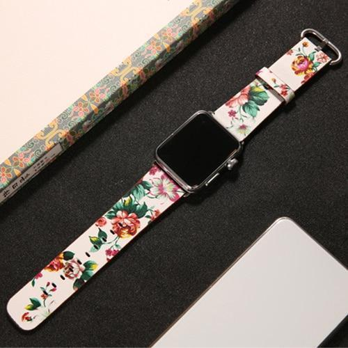 Watchbands 3 / 38mm/40mm leather strap for apple watch band 42mm 38mm 44mm 40mm correa Printing flower bracelet watchband for iwatch pulseira 5/4/3/2/1