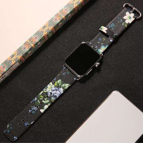 Watchbands 4 / 38mm/40mm leather strap for apple watch band 42mm 38mm 44mm 40mm correa Printing flower bracelet watchband for iwatch pulseira 5/4/3/2/1
