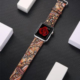 leather strap for apple watch band Printing flower bracelet watchband for iwatch