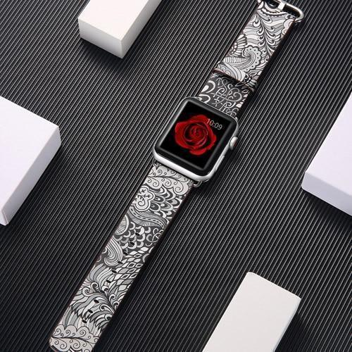 Watchbands 8 / 38mm/40mm leather strap for apple watch band 42mm 38mm 44mm 40mm correa Printing flower bracelet watchband for iwatch pulseira 5/4/3/2/1