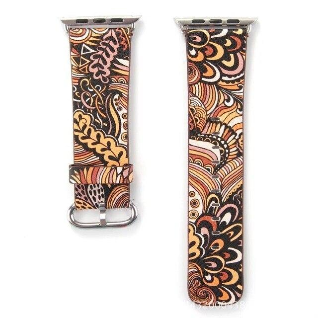 Watchbands 8 / 38mm/40mm Leather strap For Apple Watch  band apple watch 5 4 3 band 44mm/40mm correa iwatch band 42mm/38mm Floral Printed  Bracelet belt