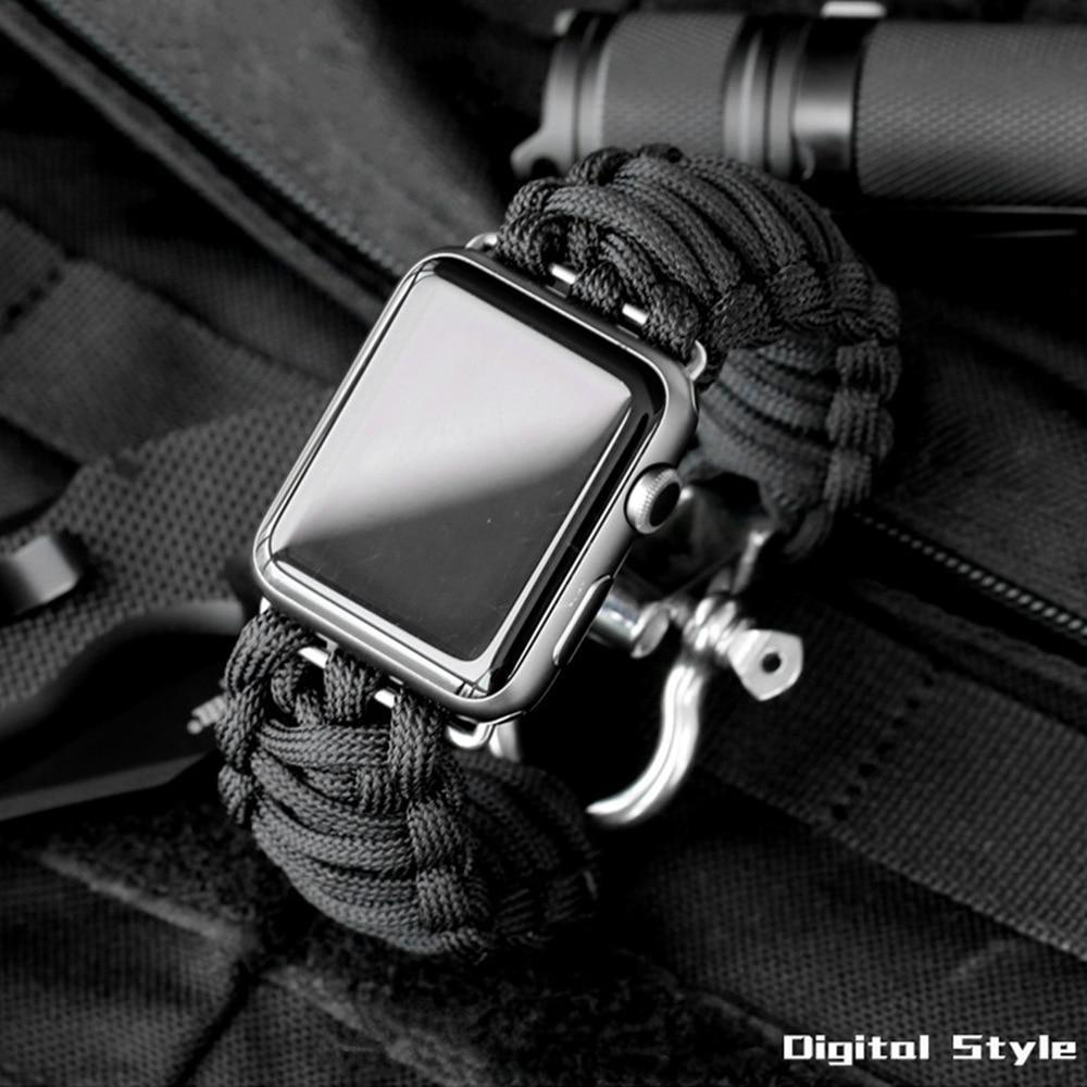 Watchbands Apple Watch Paracord nylon band, Handmade men army sport strap 5 4 3  44mm 40mm 42mm 38mm, millitary Survival Rope Metal Bolt Clasp