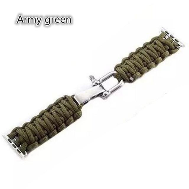 Watchbands Army green / 38mm / 40mm Apple Watch Paracord nylon band, Handmade men army sport strap 5 4 3  44mm 40mm 42mm 38mm, millitary Survival Rope Metal Bolt Clasp