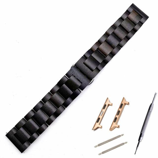 Watchbands Bk rose gold adapter / 38mm Natural Wood Watch Bracelet for Apple Watch Band 38/42mm Luxury Watch Accessories for IWatch Strap Watchband with Adapters