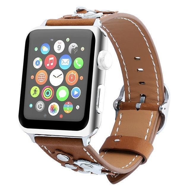 Watchbands brown / 38mm/40mm Leather strap For Apple watch band apple watch 4 3 band 42mm/44mm 38mm/40mm correa iwatch band stainless steel belt bracelet